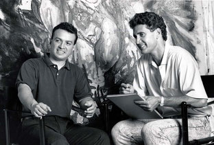 George Yepes and Luis De La Corte during the filming of 'Fama y Fortuna'.