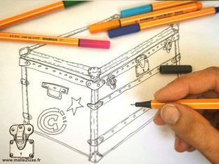 proportion et design, comment dessiner une malle de décoration tutoriel