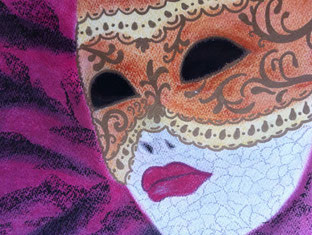 Venezianische Maske mit pinkem Hintergrund gemalt mit Pastellkreide