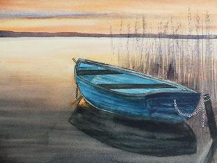Boot im Sonenuntergang Aquarell