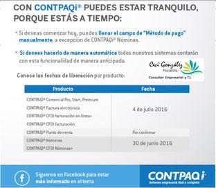 FECHAS DE LIBERACIÓN DE LOS SOFTWARE QUE EMITEN FACTURA ELECTRÓNICA.