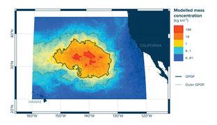 Concentración de plásticos en el giro del Pacífico Norte estimada en 2015. ©The Ocean Cleanup Foundation