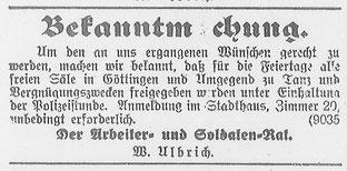 Göttinger Zeitung,  21. Dezember 1918: Tanzfreigabe über die bevorstehenden Feiertage. StA Göttingen