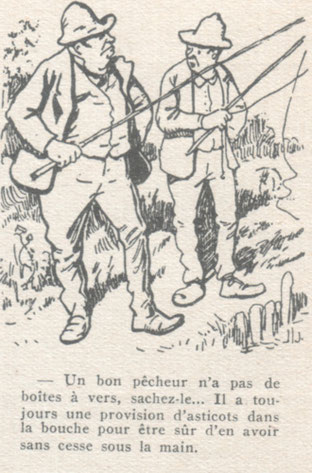 Caricatures de pêcheurs par Henriot, Journal l'Illustration, Paris 1903.