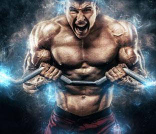 Mann mit vielen Muskeln trainiert an Langhantel