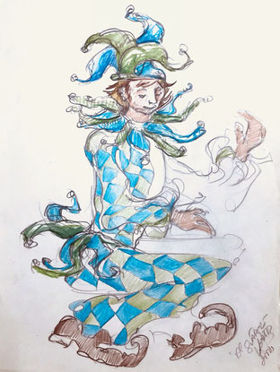 Álvaro Suárez Vértiz, pintura contemporánea, Perú, pintores peruanos, arte, dibujo, arlequín