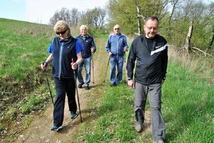 Für die Senioren gab es heuer eine von Hartmut Borrmann (2.v.l.) angeführte kürzere Wanderstrecke ohne größere Steigungen, dafür jedoch mit tollen Ausblicken über Freudenstein und Hohenklingen.