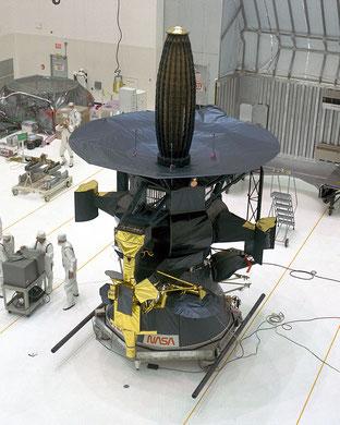 Galileo-Sonde mit eingklappter Parabolantenne