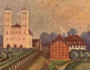 """Das """"Neue Haus"""", Mitte 19. Jh. (rechts)."""