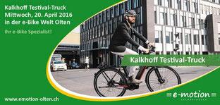 Kalkhoff Testival-Truck in der e-motion e-Bike Welt Olten