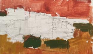 モンテ サンタンジェロ、10号のMのキャンバスを張って描き始めました、強く描きたいので下塗りの色も強く入れ、乾くのを待ちます。