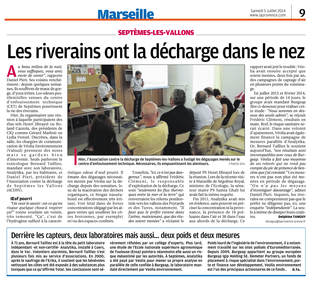Article de La Provence du 06.04.2014 par Delphine Tanguy à propos de la pollution de la décharge de Septèmes et des divergences sur les mesures éffectuées