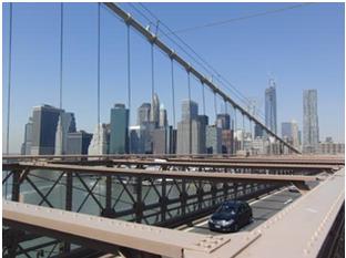 Skylineblick von der Brooklyn Bridge