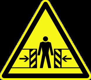 Warnung vor Quetschgefahr beim Rührreibschweißen