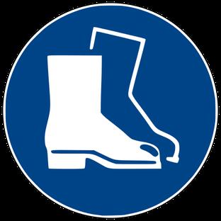 Fußschutz benutzen beim Rührreibschweißen (d.h. Sicherheitsschuhe mit Stahlkappen tragen)
