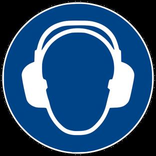 Gebotszeichen nach DIN EN ISO 7010: Gehörschutz benutzen beim Rührreibschweißen