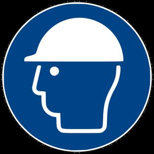Gebotszeichen nach DIN EN ISO 7010: Kopfschutz benutzen (d.h. Helm tragen) beim Rührreibschweißen