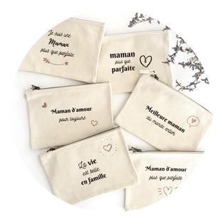 cette image représente 6 pochettes personnalisées avec message pour fête des mères
