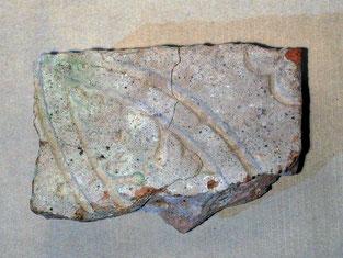 Bruchstück einer Bodenplatte - Eichenblatt - vordere Burg