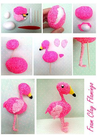 Spielwaren-Kroell, Basteln, Bastelideen, Foam Clay, Wolkenschleim, Flamingo