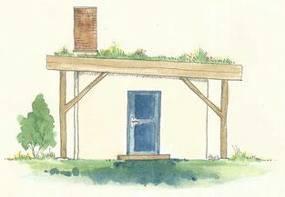 Stoh-Lehm-Bau mit Gründach und Kalkputz