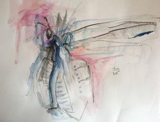 Königin der Bienen, Aquarell, 27cmx27cm, 2019