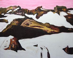 Berglandschaft, Schnee, 2013, Öl auf Leinwand, 150 x 190 cm