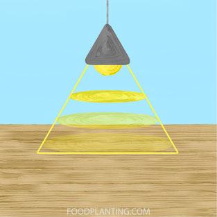 kweeklamp, afstand, licht verspreiding
