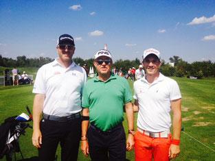 Lyoness-Open 2014 – auf der Drivingrange mit Miguel Àngel Jimènez und meinem Pro Frederik Magnusson