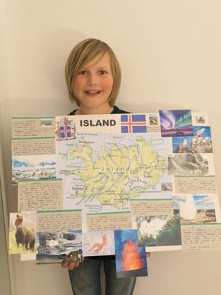 Island, Lernplakat von Joshua, 3/4d