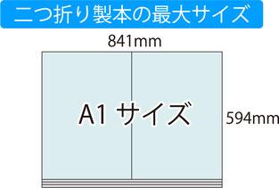 二つ折り製本の最大サイズ A1サイズ