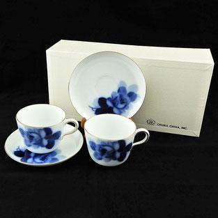 大倉陶園 ブルーローズ モーニング碗皿