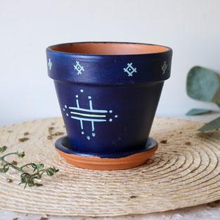 pot de fleur, plantes, berbère, déco, fait main, artisanal, doré, soucoupe, symboles