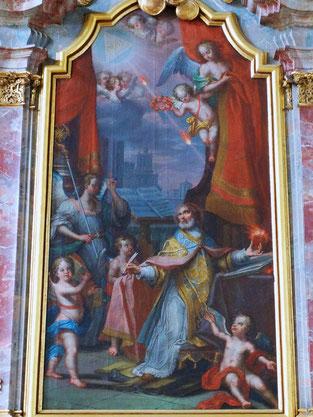 """Seitenaltargemälde """"Heiliger Augustinus mit brennendem Herz"""""""