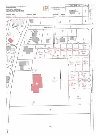 Bauplan mit 15 eingezeichneten Bauplätzen für Neubauten in Hüde.