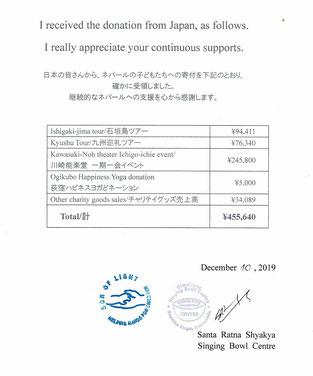 募金内訳と受領/感謝を示すシャキア氏サイン