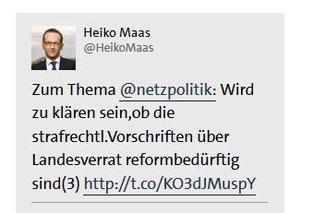 Bundesjustizminister Heiko Maas auf twitter 31.7.2015 - Distanz zu Generalbundesanwalt bei Vorgehen gegen Journalisten