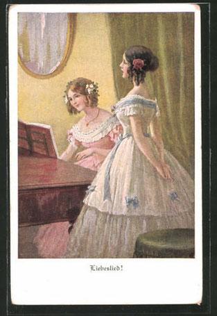 ピアノの前の美しい衣装を着た二人の若い女性達 愛の歌