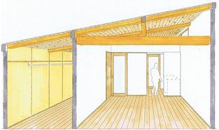 浜松大崎の家・断面パース