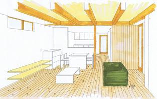 豊橋牟呂の家・LDKパース