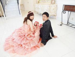 ブライダルエステをされたお客様、ピンクのドレスが素敵です!