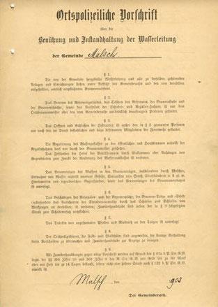 ortspolizeiliche Vorschrift über die Benutzung und instandhaltung der Wasserleitung von 1920