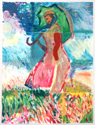 Frau mit Sonnenschirm frei nach Claude Monet, erstellt in Gemeinschaftsarbeit.
