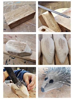 Aus einem Kantholz wird ein Igel in verschiedenen Arbeitsschritten herausgearbeitet.