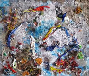 Ciudad Sumergida / Collage con reciclaje / 13.7 x 11.8 inches.