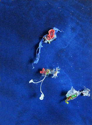 Future inhabitants of the sea / Recycling on canvas / 27.6 x 19.7 inches.