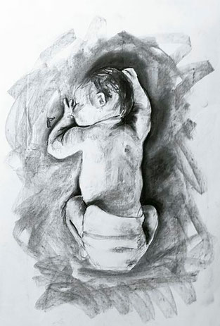 Baby 3 / Charcoal on paper / 11 x 17 inches