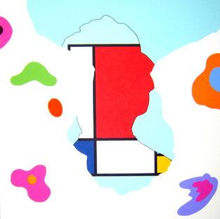 Composicion en rojo, amarillo y azul (Mondrian) Feedback serie / Acrylic / 59 x 59 in / 2012