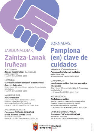 Cuidados, Pamplona enclave de cuidados, sostenibilidad de la vida, corresponsabilidad, igualdad, organización social de los cuidados, democratización de los cuidados