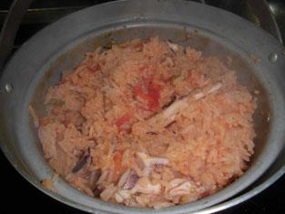 アオリイカのパエリア風炊き込みご飯